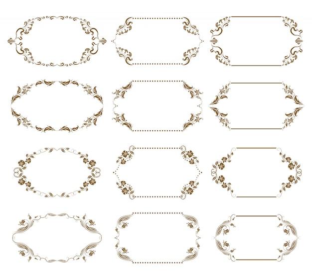 Conjunto de vectores de marcos ornamentales decorativos
