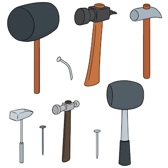 Conjunto de vectores de martillo y clavos