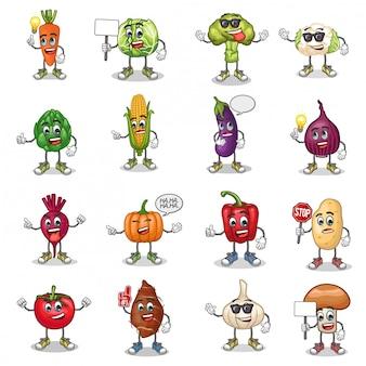 Conjunto de vectores de la mascota de dibujos animados de verduras con emoticon