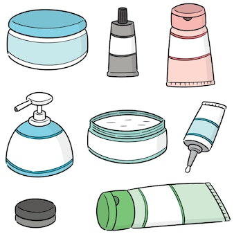 Conjunto de vectores de medicina tópica cosmética y tópica