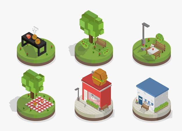 Conjunto de vectores de modelos de parques y ciudades pixelados