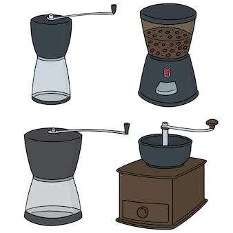 Conjunto de vectores de molinillo de café