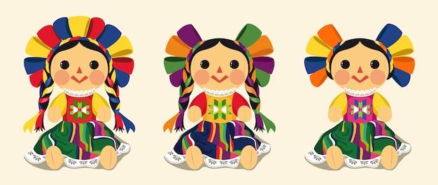 Conjunto de vectores de muñeca maria tradicional mexicana