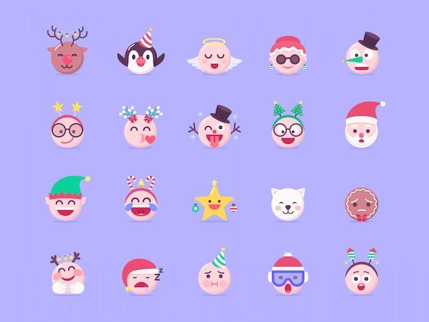 Conjunto de vectores de navidad emoji