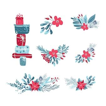 Conjunto de vectores de navidad de plantas con flores, ramas de abeto, hojas, cajas de regalo y bayas