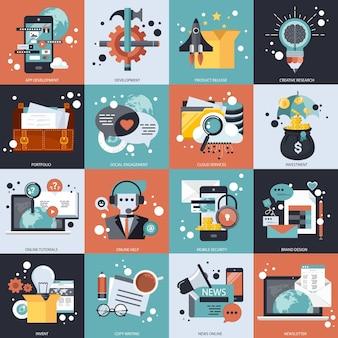 Conjunto de vectores de negocios y tecnología
