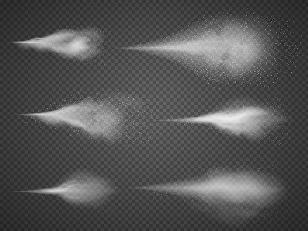 Conjunto de vectores de niebla de aerosol de agua aireada. niebla del rociador aislada en fondo transparente negro