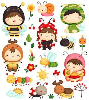 Conjunto de vectores de niños y bichos