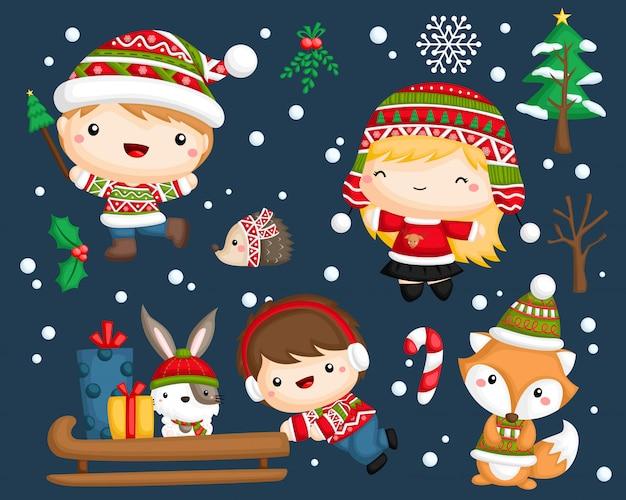 Conjunto de vectores de niños de invierno