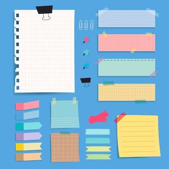 Conjunto de vectores de notas de papel en blanco colorido