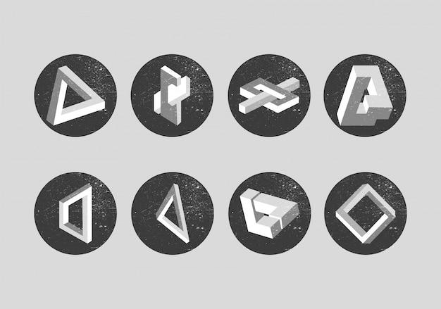 Conjunto de vectores de objetos imposibles.