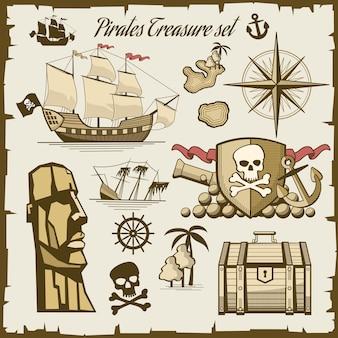Conjunto de vectores de objetos piratas. cañón y calavera de símbolo, ilustración de barco de mar