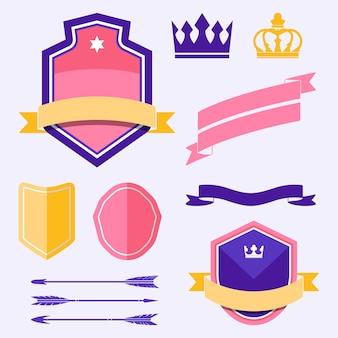 Conjunto de vectores de ornamento de etiqueta colorida