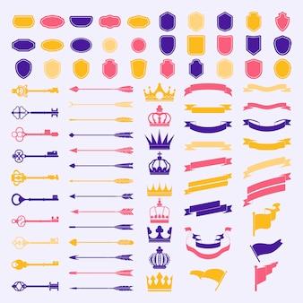 Conjunto de vectores de ornamento de etiqueta