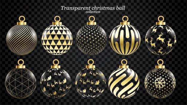 Conjunto de vectores de oro y bolas de navidad transparentes