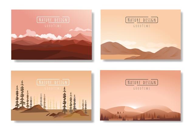 Conjunto de vectores de paisajes, estilo plano.