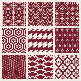 Conjunto de vectores de patrón de inspiración japonesa