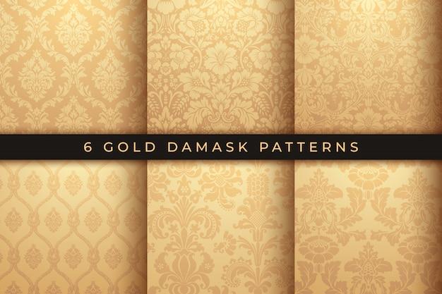 Conjunto de vectores patrones de damasco. adorno de oro rico, antiguo patrón de estilo de damasco para fondos de pantalla