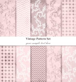 Conjunto de vectores de patrones de damasco, decoración de ornamento barroco