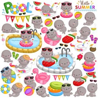 Un conjunto de vectores de pequeños sellos lindos jugando y de fiesta en la piscina en la temporada de verano