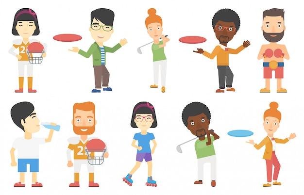 Conjunto de vectores de personajes del deporte.