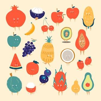 Conjunto de vectores de personajes de dibujos animados de frutas tropicales