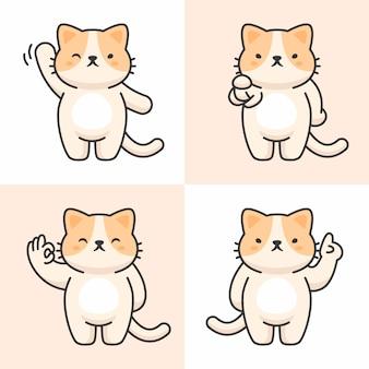 Conjunto de vectores de personajes lindo gato