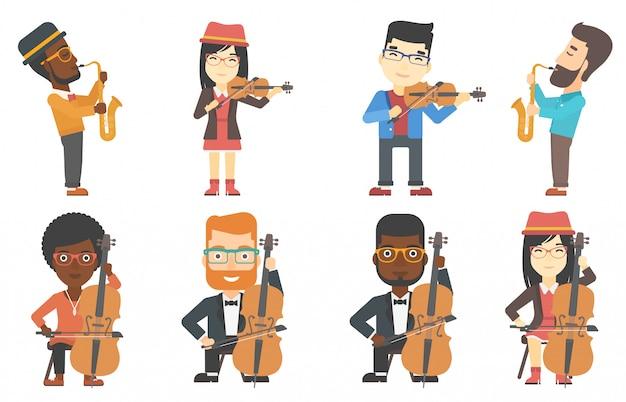 Conjunto de vectores de personajes de músicos.