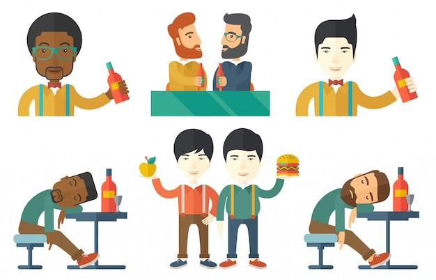 Conjunto de vectores de personas comiendo y bebiendo.