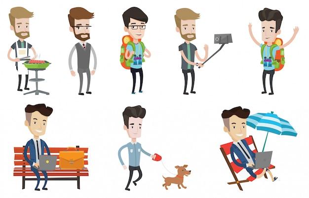 Conjunto de vectores de personas y empresarios que viajan.
