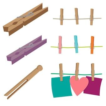 Conjunto de vectores de pinzas para la ropa