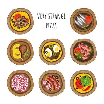 Conjunto de vectores de pizzas muy extrañas. estilo dibujado a mano