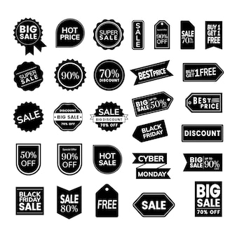 Conjunto de vectores de placas de promoción.