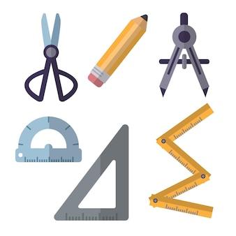 Conjunto de vectores planos de herramientas de arquitectura