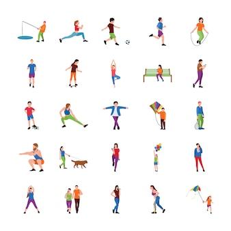 Conjunto de vectores planos de personas en el parque