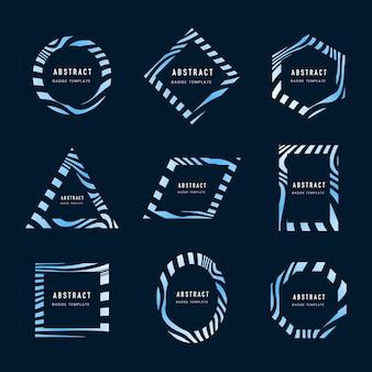 Conjunto de vectores de plantilla insignia abstracta azul