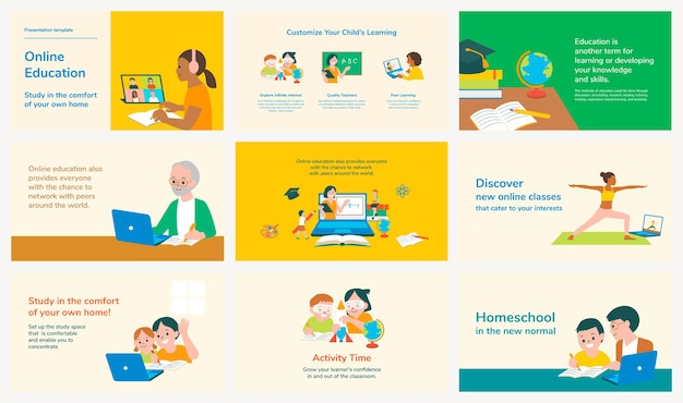 Conjunto de vectores de plantillas de diapositivas editables de educación