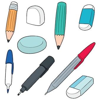Conjunto de vectores de pluma, lápiz, borrador