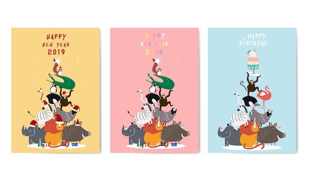 Conjunto de vectores de postales de saludos