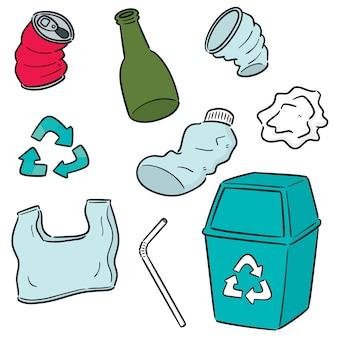 Conjunto de vectores de reciclaje de basura