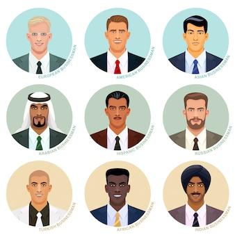 Conjunto de vectores de retratos de empresario internacional. avatares masculinos guapos. rostros de diferentes naciones. imágenes de usuario caucásicas, asiáticas, indias y otras étnicas en los marcos redondos.