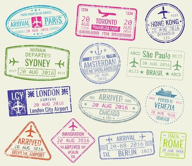 Conjunto de vectores de sellos de pasaporte de visa de viaje internacional. parís y toronto, hong kong y el puerto de amste.