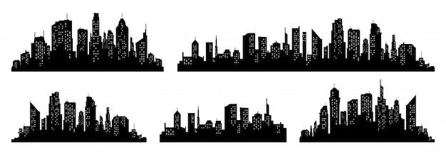 Conjunto de vectores de silueta de la ciudad