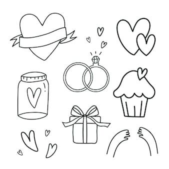 Conjunto de vectores de símbolos de amor