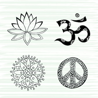 Conjunto de vectores de símbolos de cultura. lotus, mandala, mantra om y signos de la paz colección dibujada a mano.