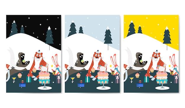 Conjunto de vectores de tarjetas de cumpleaños