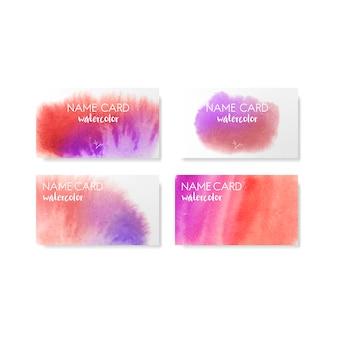 Conjunto de vectores de tarjetas de estilo acuarela rojo y púrpura