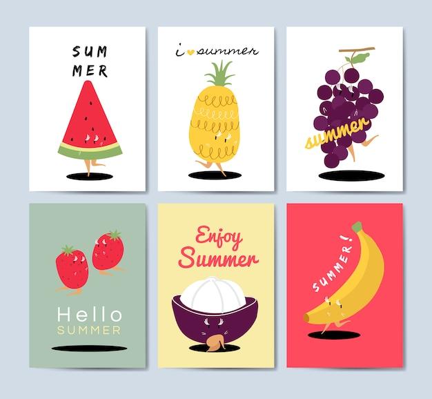 Conjunto de vectores de tarjetas de felicitación de dibujos animados de frutas tropicales