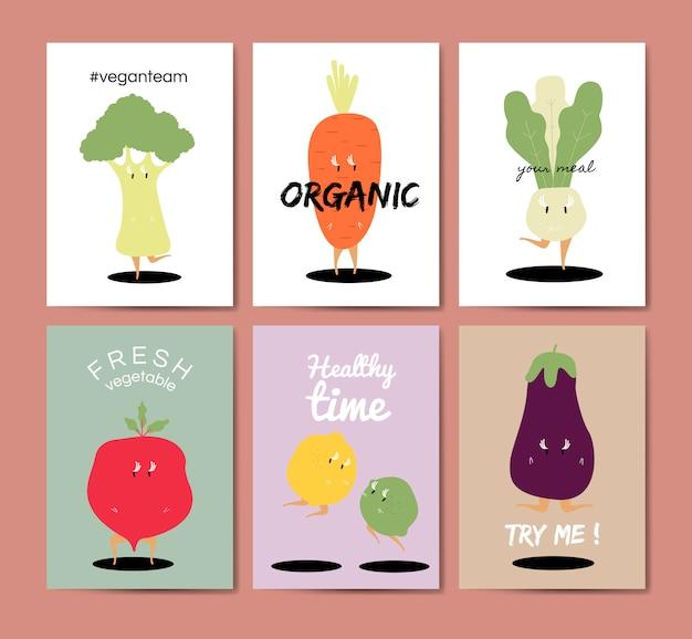 Conjunto de vectores de tarjetas de felicitación de dibujos animados vegetales