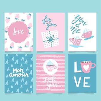 Conjunto de vectores de tarjetas de felicitación inspiradas en san valentín con corazones, estilo plano simple